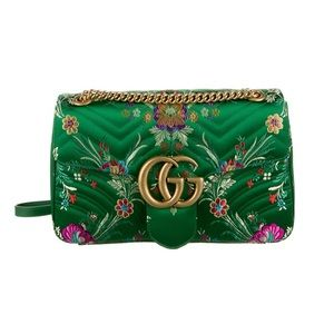 Green Satin Gucci Marmont bag
